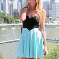 Blue &amp; Black Strapless Flowy Dress with Cutout Side Detail