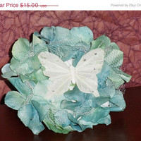 SALE ENDS 5/9 Feather Butterfly and Flower Hair Clip