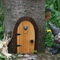 A Fairy door / Gnome door that OPENS. 12 inch rounded Gnome / Fairy d | NothinButWood - Dolls & Miniatures on ArtFire