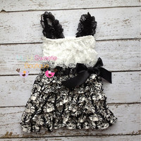 Damask dress, black and white dress, Lace dress, baby girl outfit, infant outfit, special occasion dress, toddler dress, girls dress,