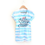 Salty Sailor - Hand Dyed Striped Stenciled Scoop Neck Rolled Cuffs Tee in Teal Blue and Red - S M L XL