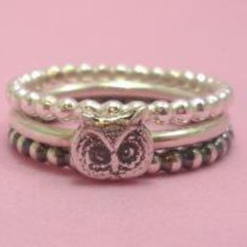 Silver Owl Stacking Ring Set by SugarCity on Etsy