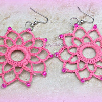 Earrings Pink Crochet Handmade Earrings Direct Checkout Statement Woman Boho