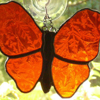 Stained Glass Orange Butterfly Black Patina Suncatcher