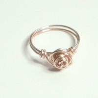 Love Knot Rose Rose Gold Wire Wrapped Ring