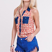 Nollie Sleeveless Western Print Shirt at PacSun.com