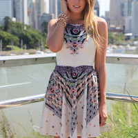 Cream Fit & Flare Sleeveless Dress with Colorful Print