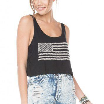 Brandy ♥ Melville |  Mirella Flag Embroidery Tank - Graphic Tops - Clothing