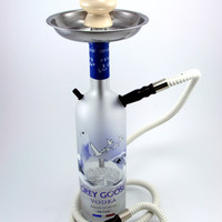 Grey Goose 750ml Bottle Shisha Hookah With Matching  Hose, Tray, and Bowl