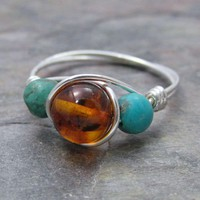 Baltic Amber and Turquoise Sterling Silver Wire Wrapped Ring ANY size