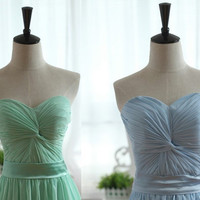 Strapless Sweetheart Mint Blue Chiffon Prom Dress Bridesmaid dress