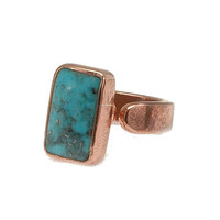 Blue Turquoise and Copper adjustable ring, simple and easy, handcrafted artisan jewelry