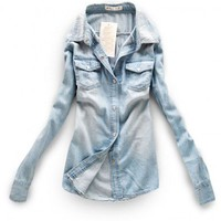 Light Blue Point Collar Denim Blouse with Press Button Closure