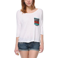 Empyre Girls Rockridge White Tribal Print Pocket Top