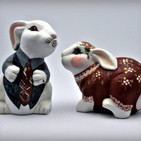 Hand Painted Bunny Sweethearts in Designer by PaintedDesignsByLona
