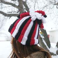 50% OFF - Red, Black & White Hat with Curly Q's