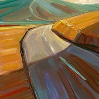 Original oil painting of a road landscape by Lesley Spanos | SpanosStudio - Painting on ArtFire