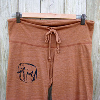 too tired to argue Elephant Yoga Pants in Terracotta, pajamas, lounge pants, maternity pants, S,M,L,XL