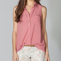 FULL TILT Essential Button Front Chiffon Womens Shirt 208574350 | Blouses & Shirts | Tillys.com