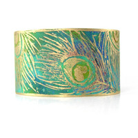Peacock Cuff Bracelet, Etched Metal, Adjustable, Wide Bracelet, Green, Peacock Feather, Spring Jewelry, Raw Brass, Original Design, Bohemian