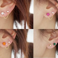 Cute Bunny Two Hole Tassel Earrings