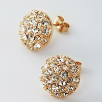 Champagne Austrian Rhinestone Earrings Studs