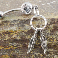 Double Feather Dream Catcher Belly Button Ring