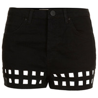 MOTO Cut Out Hem Denim Hotpants - Sale - Sale &amp; Offers - Topshop USA