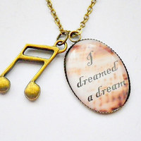 Les Miserables: Fantine's I Dreamed A Dream lyrics with 16th note charm cameo pendant necklace