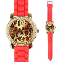 Fluorescent Color Leopard Grain Silicone Rhinestone Sports Watch