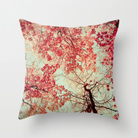 Autumn Red . decorative pillow . leaves maple tree . fpoe . throw pillow . bright scarlet home decor . nature . cottage home . jgt team