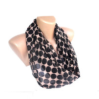 polka dot new infinity women scarf , black and beige , chiffon fabric