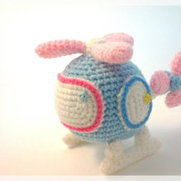 Amigurumi helicopter,  pastel crochet doll,  made to order.