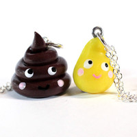 2 BFF Poop and Pee Necklace Set - Best Friends jewelry - Kawaii cute miniature poo friendship jewelry charm pendants