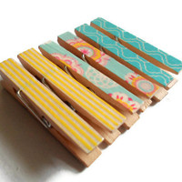 Mini Clothespin Magnets Yellow Turquoise Floral Set of 6 Magnet Clips