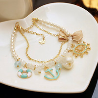 Rudder Anchor Pearl Shell Bowknot Beach Bracelet from TheFunKiss