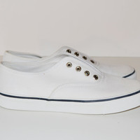 Vintage Sperry Sneakers Top Siders White Canvas with Blue Trim Shoes Womens Size 6 1/2 M