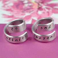 to infinity and beyond -Forever Love, Friendship, Spiral Rings, Hand stamped, Shiny Aluminum