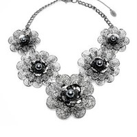 Amrita Singh Flower Pattern Pearls Embellished Bib Necklace - Amrita Singh jewelry under $59 - Modnique.com