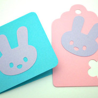 Spring Bunny Notecards & Tags Blue Lavender Pink  set by justByou