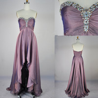 Cheap 2013 A Line Strapless Sweetheart With Crystal Front Short Long Back Chiffon Prom Evening Dresses