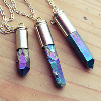 Rainbow Aura Quartz Point Bullet Necklace - Rough Raw Natural Crystal Spike Pendant with Gold Plated Chain