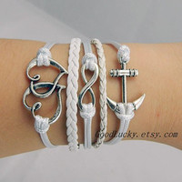 Telesthesia Lovers Bracelet--fashion silver 8 infinity wish and loving heart, anchor bracelet,white wax rope&amp;leather braided bracelet