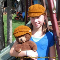 persimmon child size newsboy cap with matching doll cap on Handmade Artists&#x27; Shop