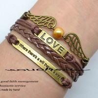 Retro bracelet - bronze  informers bracelets,Where there is a will there is a way bracelet,love bracelet- best gift