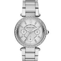 Michael Kors Mini-Size Parker Multi-Function Watch, Silver Color