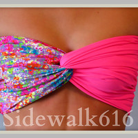 Floral Bandeau Top - Spandex Bandeau - Bandeau - Pink