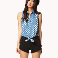 Polka Dot Tie Denim Shirt | FOREVER 21 - 2026325173