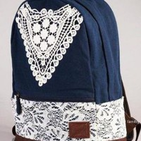 Crochet Lace Canvas Backpack