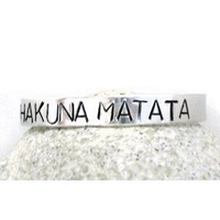 Hakuna Matata Hand Stamped SIB Bracelet - Aluminum, Adjustable; Handcrafted in USA by Foxwise Jewelry: Everything Else